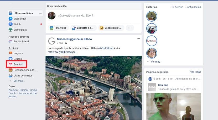 Facebook eventos pagina de inicio