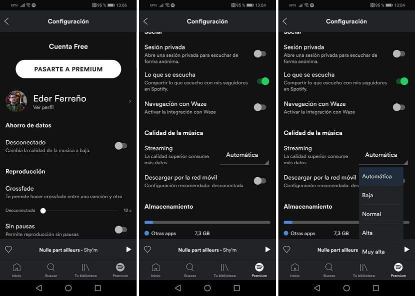 Calidad audio Spotify