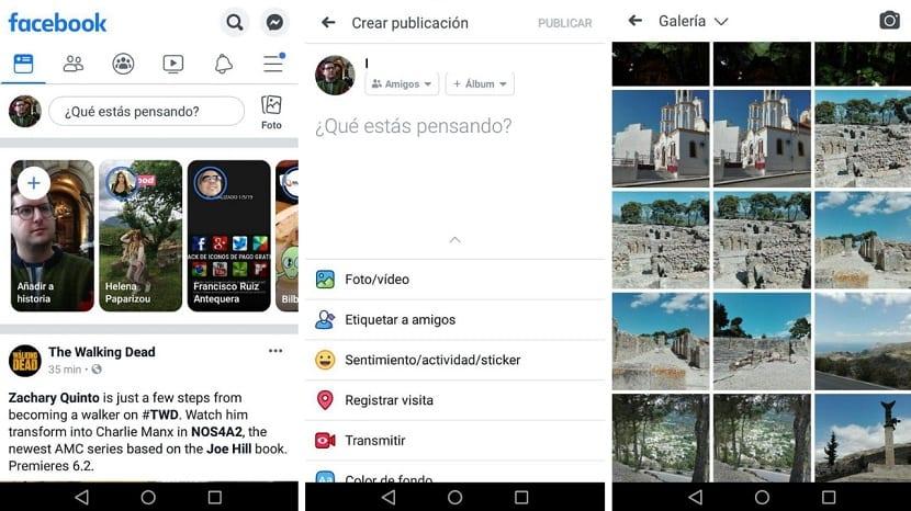 Facebook subir vídeo app Android
