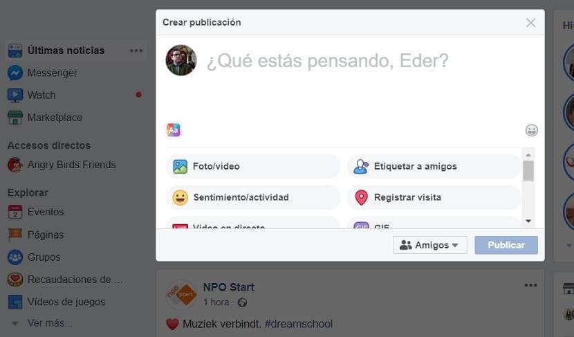 Facebook subir video