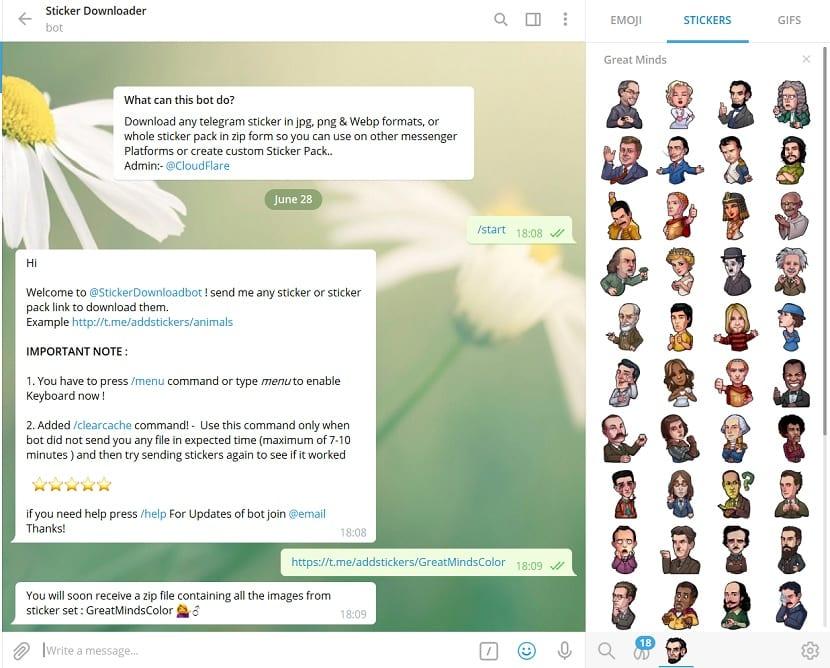 Descargar Stickers desde Telegram