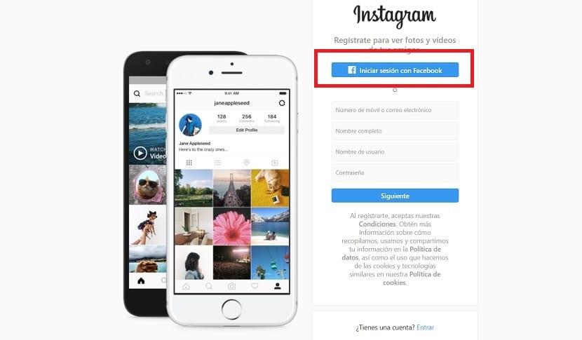 Iniciar sesión con Facebook en Instagram
