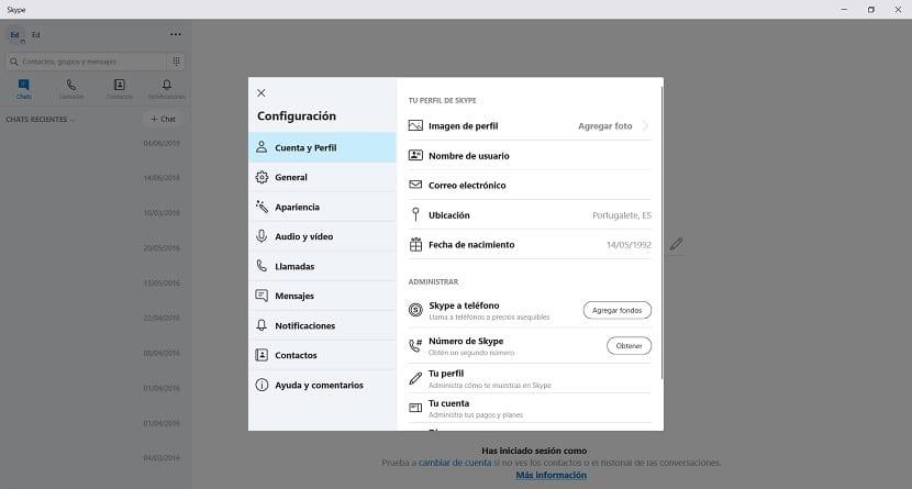 Configuracion de Skype