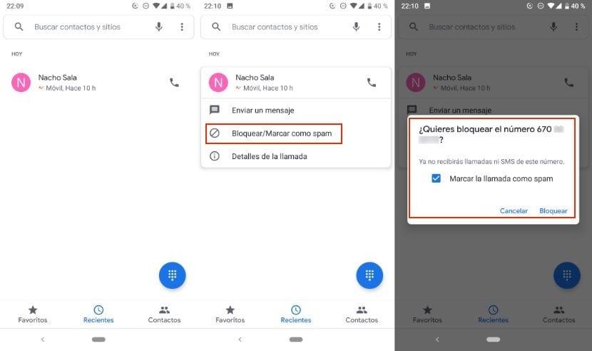Bloquear número de teléfono en Android