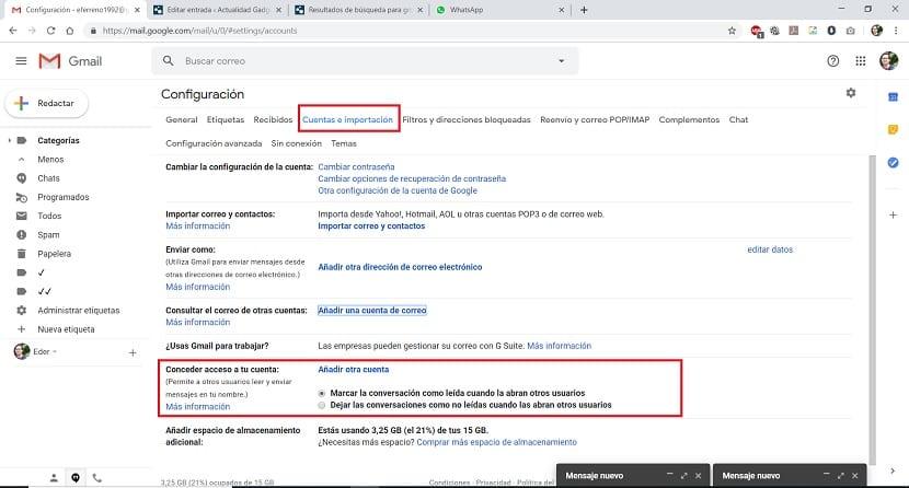 Gmail conceder acceso a la cuenta