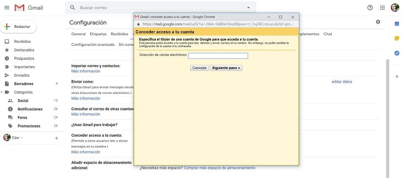 Gmail cuenta de correo delegado