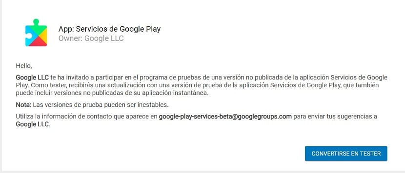 Beta tester Android Google Play Services