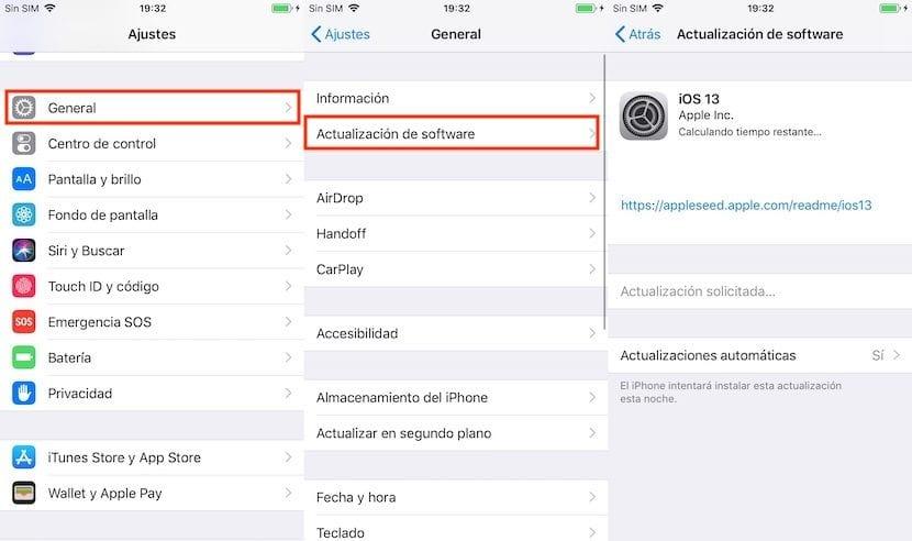 Actualizar a iOS 13