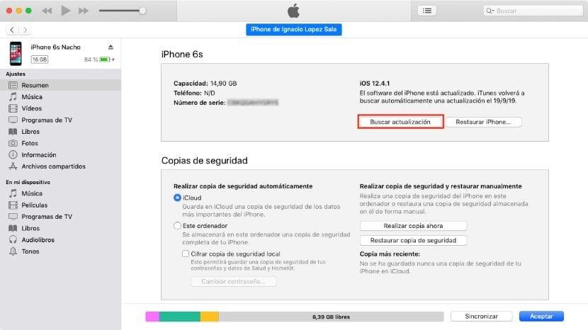 Actualizar a iOS 13 desde iTunes
