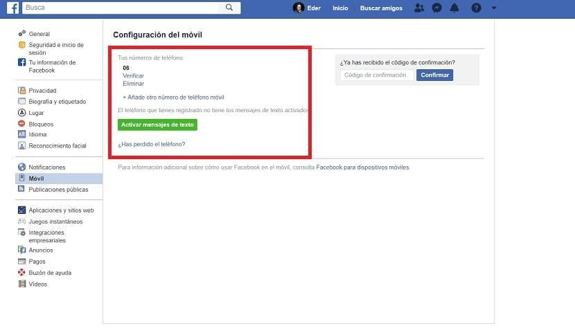 Eliminar numero telefono facebook