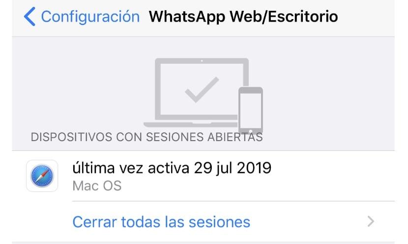 Cerrar las sesiones web abiertas de WhatsApp