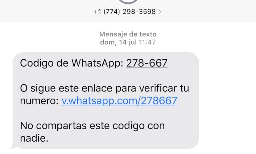 Vódigo de verificación de WhatsApp