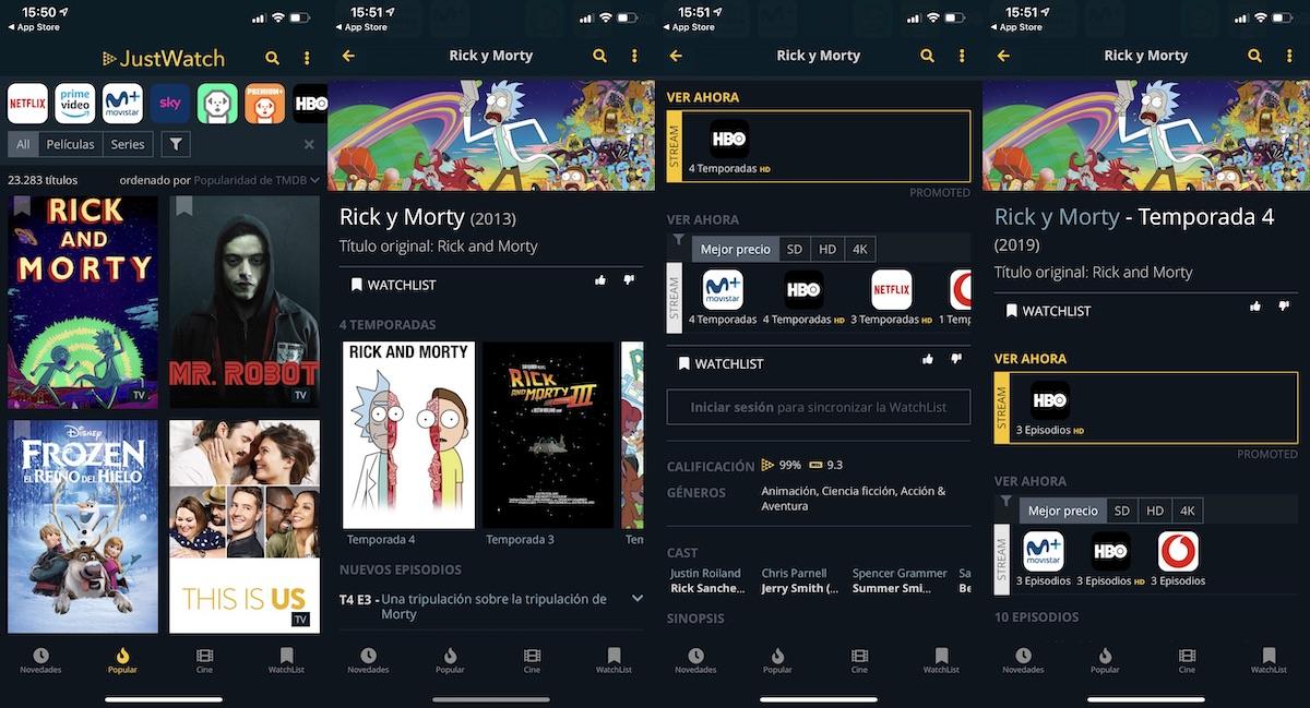Just Watch -seguir nuestras series y películas favoritas desde nuestro smartphone