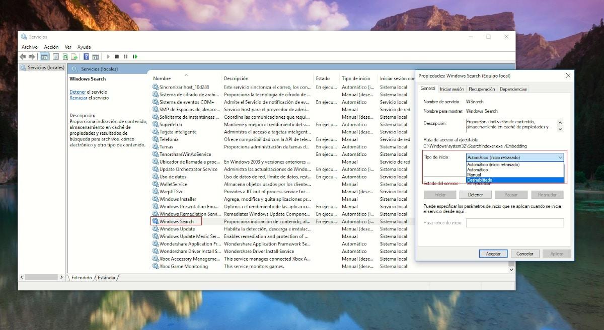 Desactivar la indexación de archivos