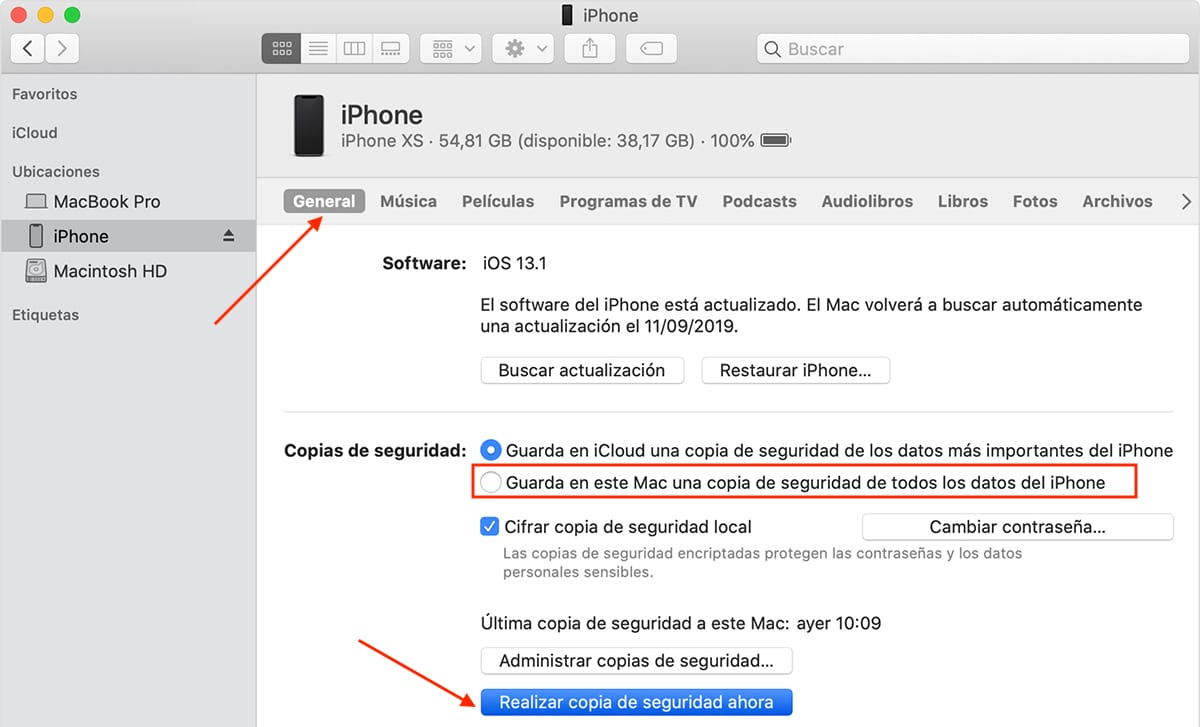 Hacer copias de seguridad de iPhone con iTunes
