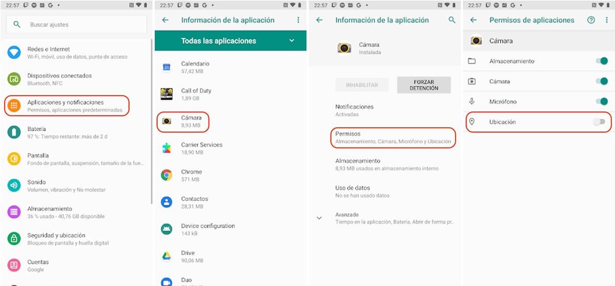 Desactivar la localización de la cámara en Android