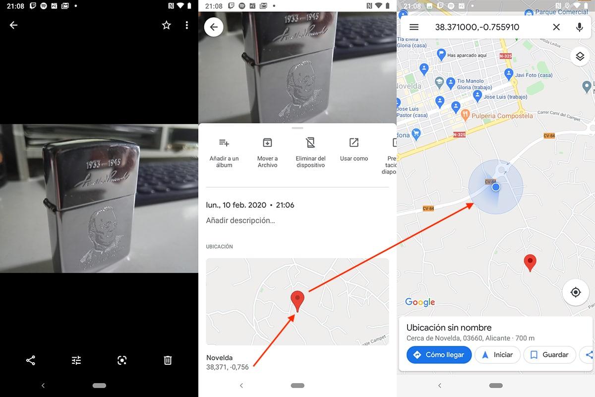 Ver ubicación imágenes Android