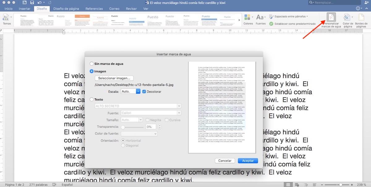 Trucos Microsoft Word -Añadir marcas de agua