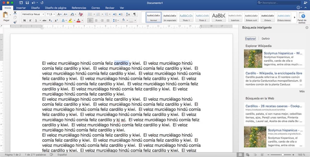 Trucos Microsoft Word - Búsqueda de palabras en internet