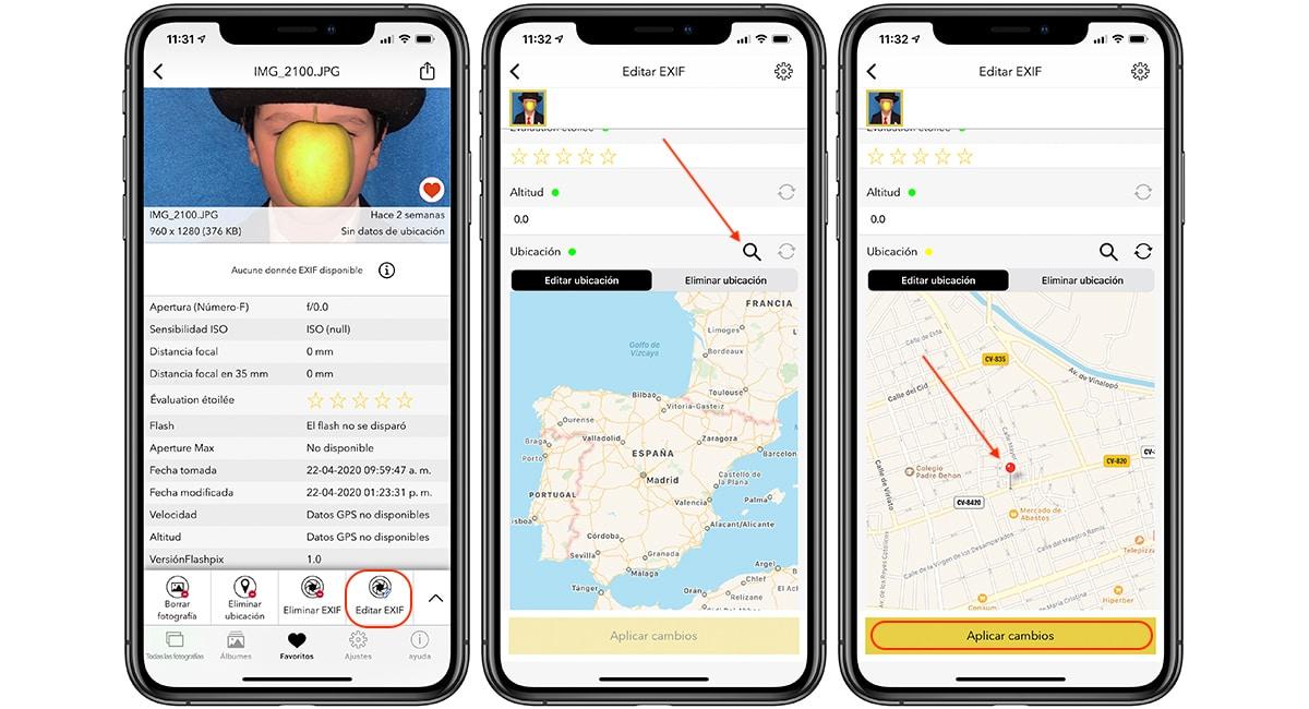 Añadir la ubicación de una foto en iPhone
