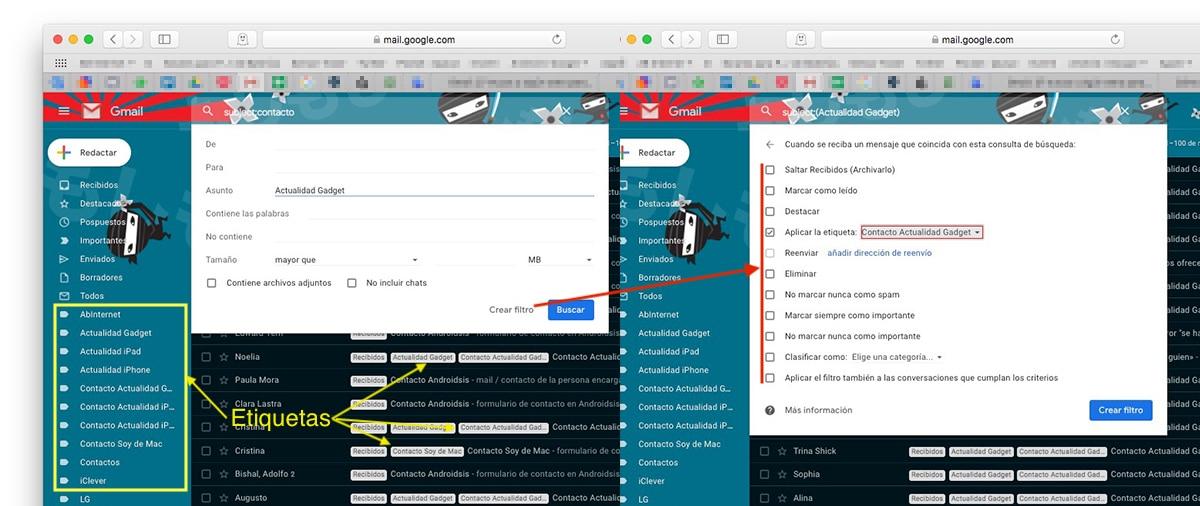 Filtros etiquetas Gmail