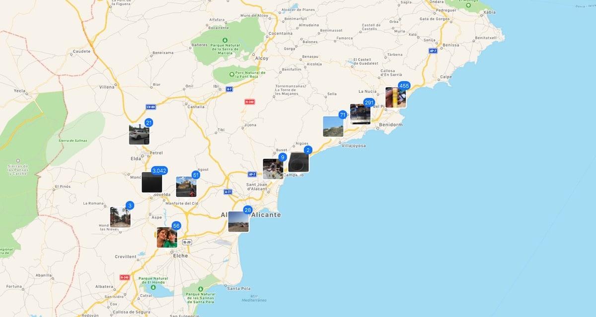 Fotografías en un mapa