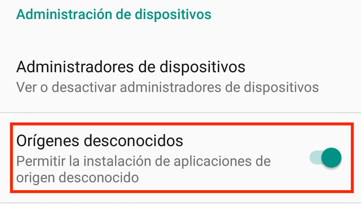 Instalar aplicaciones orígenes desconocidos Android